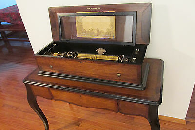 ANTIQUE CYLINDER MUSIC BOX / BAKER-TROLL 6cyl. 48 Airs / C. 1884 + Video demo!