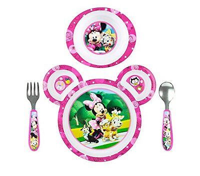 Dishes Feeding Baby Foods Plate Bowl Mealtime Fun Minnie Mouse Disney Friends