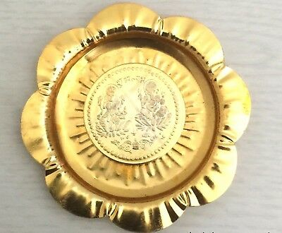 Shree Lakshmi Ganesh Puja Coin Lord Ganesha Laxmi Antique Yellow Metal In Plate