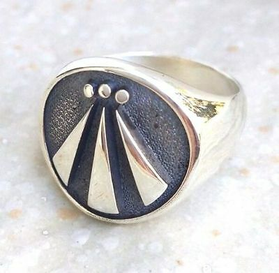 Solid Sterling Silver 925 Druid Awen Pagan Celtic Ogham Handmade 3D Ring