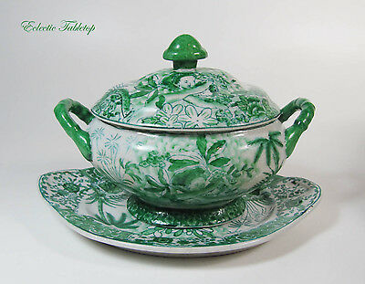 Small Antique Hand-Painted Chinese Tureen with Under Plate