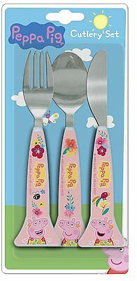 Spearmark Childrens Peppa Pig Tropical Knife Fork Spoon Cutlery Gift Age 3 - 4
