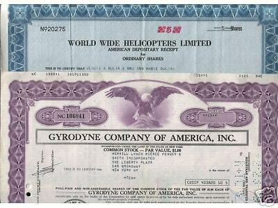 2 Diff Superb Helicopter Co. Stocks!! Immeasurably Rare! Our Exclusive! Cv $200!