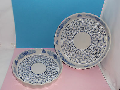Two fluted Blue & White FLAN DISHES