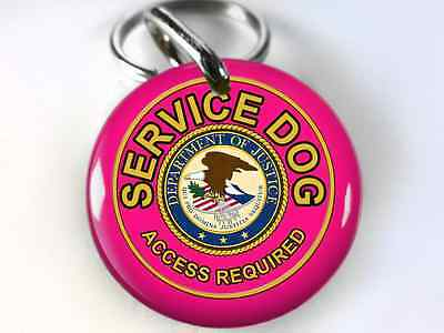 Service Dog PET tag ADA Dog ID custom made with your service animal info Pink
