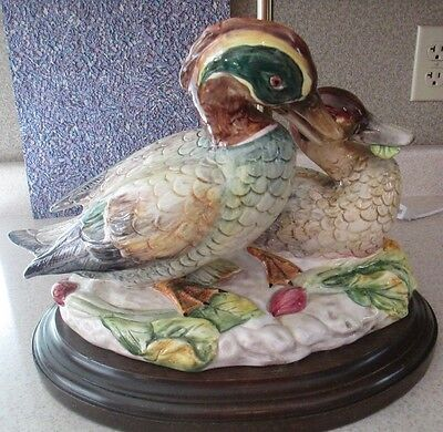 Mallard Ducks Lamp No Chips Beautiful Glaze  Excellent Codition
