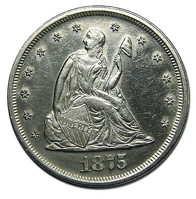 1875 Seated Liberty Twenty Cent Piece 20 Cents Coin Lot# MZ 1535