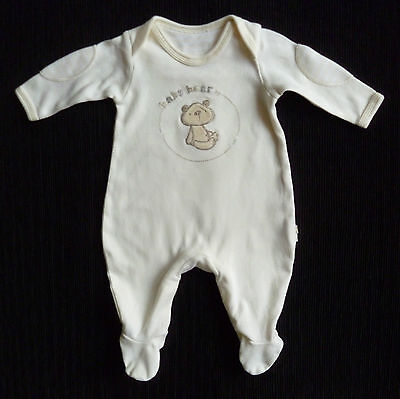 Baby clothes UNISEX BOY GIRL newborn 0-1m bear soft cream babygrow SEE SHOP!