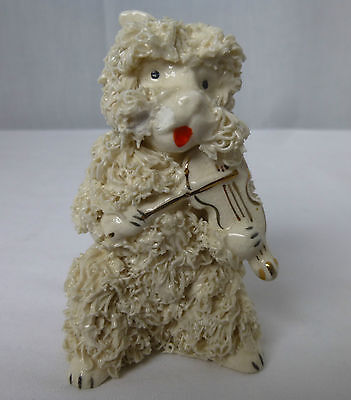 Vintage,Japanese,White Shredded Clay, Old English Sheepdog With Violin