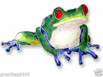 Collectible Blue-Toed Frog Pin 925 Sterling Silver Hand Painted Enamel Gift Box