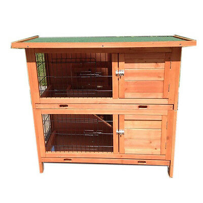 Rabbit Hutch Two Storey Ferret Cage Guinea Pig House Run with Double Trays P035