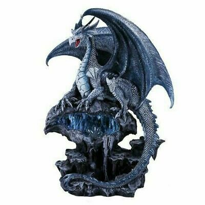 "Frost Ice Dragon with LED Light Blue Crystal Base Figurine Fantasy Legend 12.5""h"