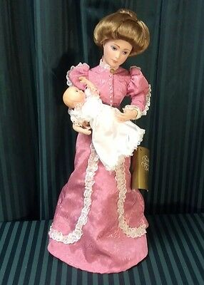 """1986 Franklin Mint Gibson Girl Doll w/ Infant """"A Mothers Love"""""""