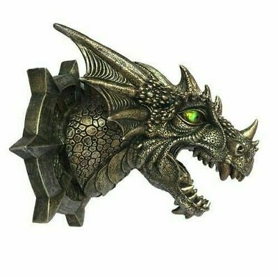 "Dragon Head Wall Plaque Mount with LED Eyes Figurine Fantasy Legend 8"" Length"