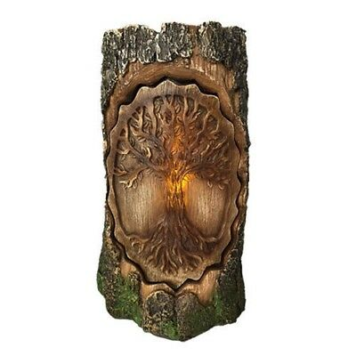 """Celtic Tree of Life in Carved Bark LED Night Light Statue Forest Greenman 7.5""""h"""