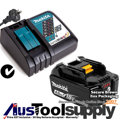 Makita Genuine 18V Lithium Ion 4Ah Battery Charger Kit  Bl1840B Dc18Rc 2017