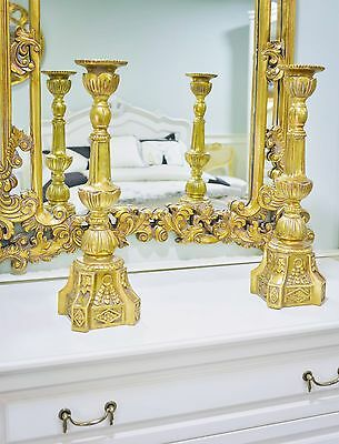 Pair Gold Candle Stick Holder Brass Effect Candelabra French Carved Large