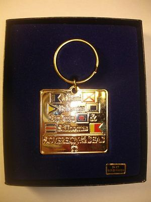 SUPERB ROYAL CARIBBEAN KEY CHAIN KEY RING 24kt GOLD FINISH NEW IN BOX!
