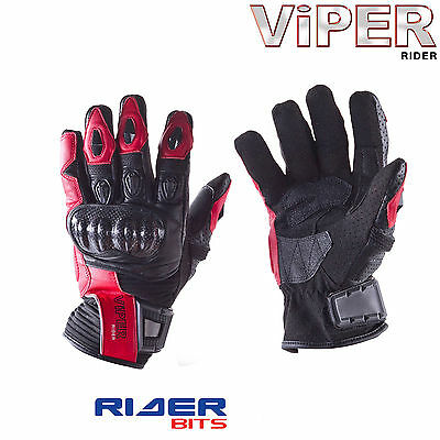 Viper Viera Short Black Red Gloves Leather Motorcycle Carbon Knuckle Summer Race