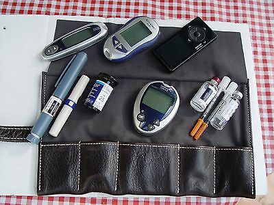 Diabetic And Other Medical Supply Storage And Carrying Leather Case