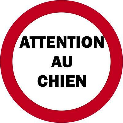 Autocollant sticker porte portail attention au chien danger panneau danger