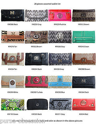 Wholesale Lot - 20 Assorted Women's Designer Tri-fold Flap Clutch Purse Wallet