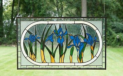 "34.75""L x 20.5""H Handcrafted Beveled stained glass window panel Iris Flowers"