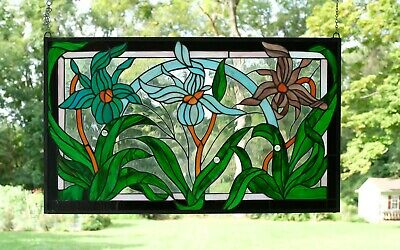 "34.75""L x 20.75""H Tiffany Style jeweled stained glass window panel Iris Flowers"