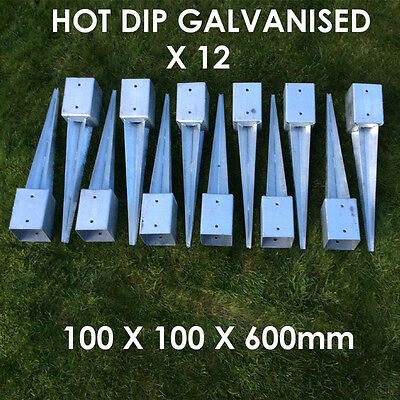 "12 X 100mm 4"" FENCE POST SPIKE METAL SPIKES  STAKES GARDEN FENCE ANCHOR SPIKE"