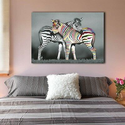 Zebra Stretched Canvas Prints Framed Hanging Wall Art Giclee Home Decor Painting