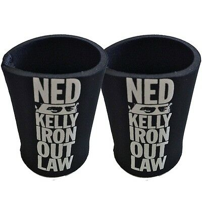 TWO (2) NED KELLY IRON OUTLAW BLACK STUBBY HOLDERS / CAN COOLERS ($29.98rrp)