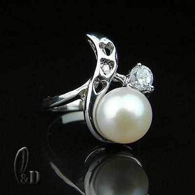 AU SELLER Chic Gorgeous White Genuine pearls Ring 09056-1