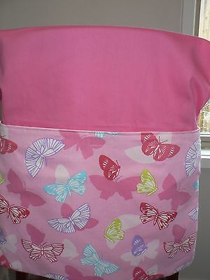 Handmade kids chair bag first name embroidered free BUTTERFLY PINK