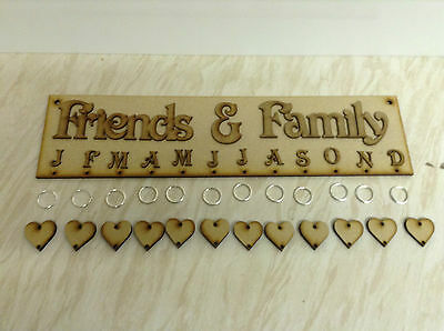 'Friends and Family Birthdays' Plaque with 24 Hearts& Rings. 400x100mm -