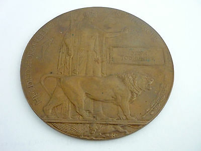 WW1 Memorial Plaque & Acceptance Slip for Medals 7th Bn Lincolnshire Reg