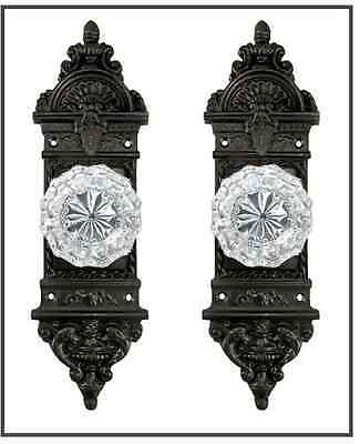 20th Century Antique Reproduction Backplate/Crystal Knob Set for French Doors