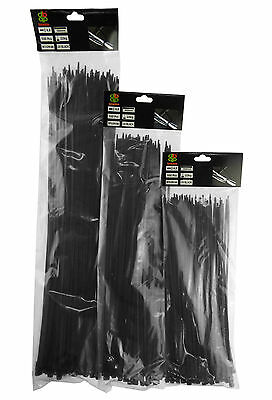 300 Mixed Bulk Pack Of Larger Black Cable Ties,3 Sizes,sent From Uk Stock