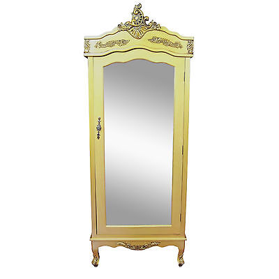 French Style Antique Gold Single Door Armoire Wardrobe with Mirrored Door