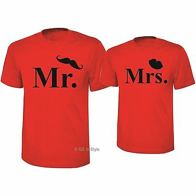 MR and MRS T SHIRTS COUPLE SET VALENTINE'S DAY HER HIS WIFE HUSBAND WEDDING GIFT
