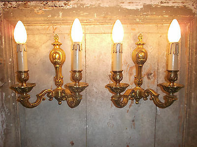 French a pair of  gold bronze wall light sconces gorgeous detailed vintage