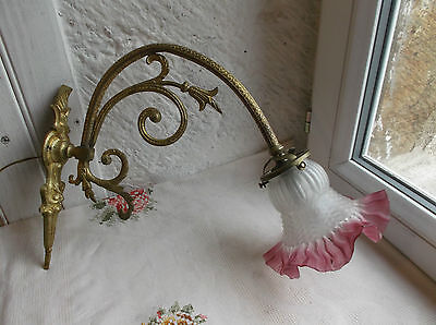 French antique wall light frost glass ruffled shade red trim gorgeous bronze arm