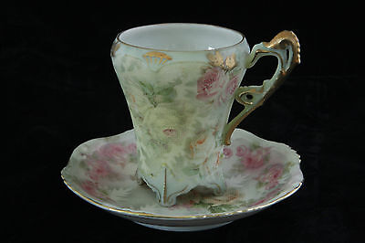 Royal Bayreuth Rose Tapestry Yellow, White Pink Roses Cup & Saucer Signed
