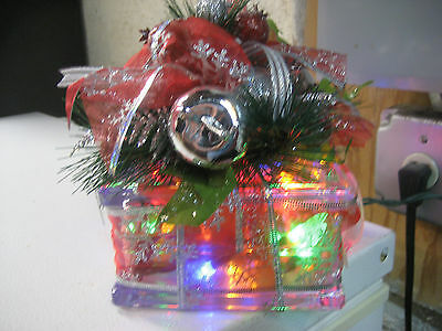 Square clear block multi color lighted decorated hand crafted