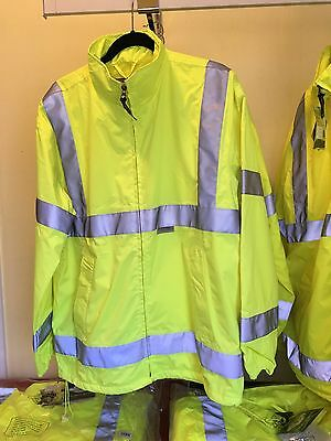 Men's Waterproof  Windbreaker Lime Green High Visibility Reflective Storm Jacket