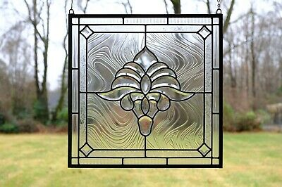 """Handcrafted stained glass Clear Beveled window panel 20"""" x 20"""""""