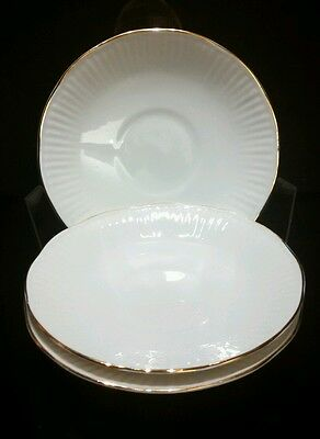 3 QUEEN'S Fine Bone China, Made in England, Saucers White Gold Trim