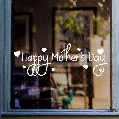 Happy Mothers Day Shop Window Sticker Love Hearts Retail Display Vinyl Decal