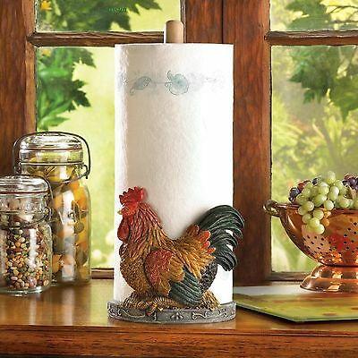 ROOSTERS: Red Country Rooster Kitchen Paper Towel Holder Rack NEW