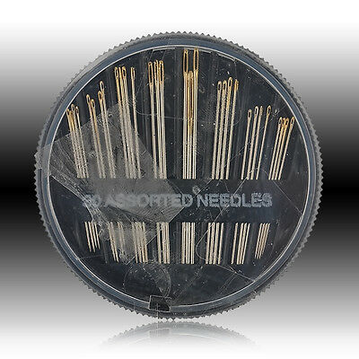 30PC Assorted Hand Sewing Needles Set Embroidery Mending Craft Quilt Repair Case