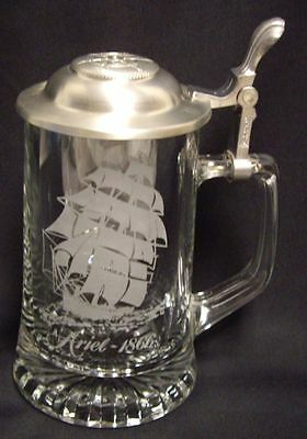 Old Spice Lidded Glass Beer Stein Pewter Engraved Etched Ship Ariel 1866 CUI